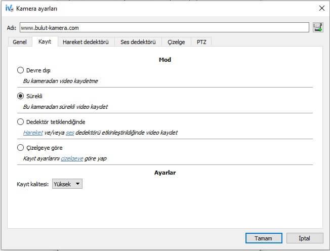 ivideon server harekete duyarlı kayıt ayarları
