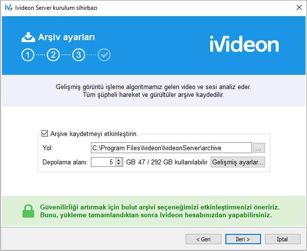 ivideon server kamera kayıt depolama alanını seçme ayarları