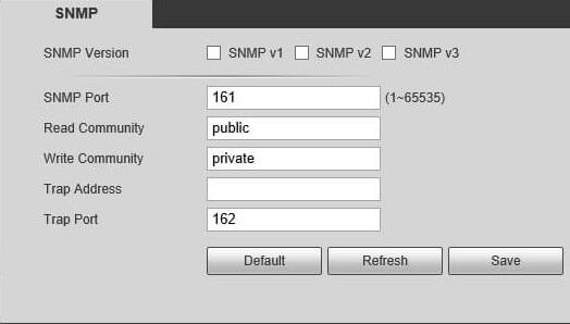 Kamera SNMP ayarlarını kapatmak